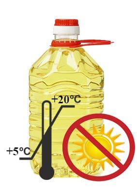 подсолнечное масло надо хранить в дали от солнечного света